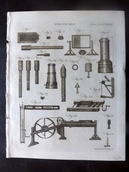 Encyclopaedia Britannica 1797 Antique Print. Pyrotechny. Fireworks 428